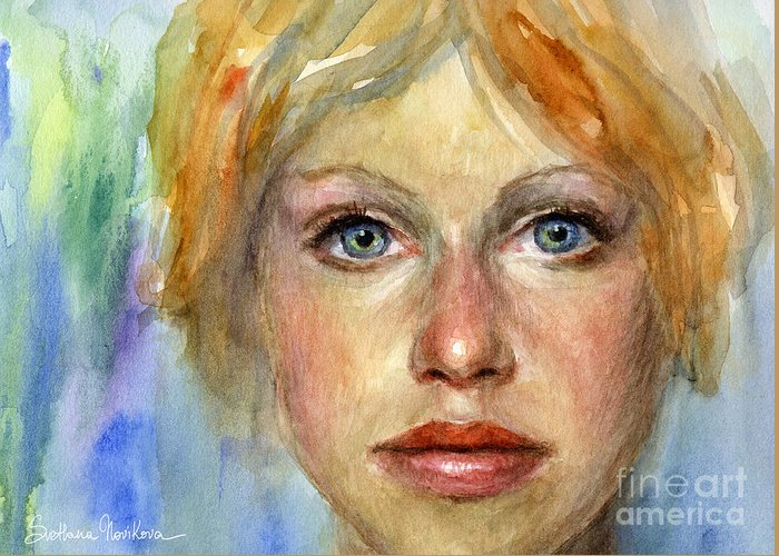 Woman Portrait Greeting Card featuring the painting Young Woman Watercolor Portrait Painting by Svetlana Novikova
