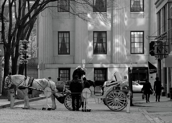 Quincy Market Greeting Card featuring the photograph Your Carriage Awaits by Kristine Patti
