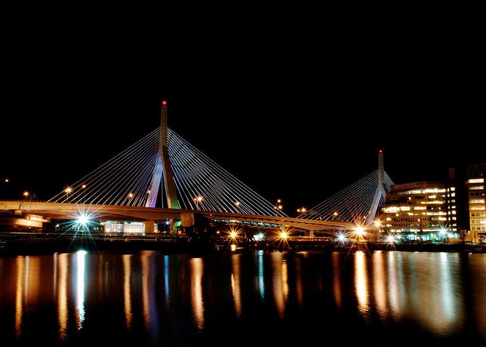 Bridge Greeting Card featuring the digital art Zakim Over The Charles River by Richard Bramante