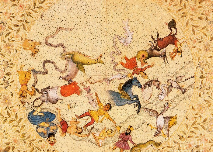 Zodiac Greeting Card featuring the photograph Zodiac Signs From Indian Manuscript by Science Source