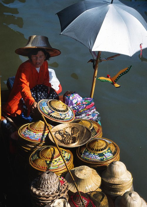 Thai Greeting Card featuring the photograph Boat Woman In Thailand by Carl Purcell