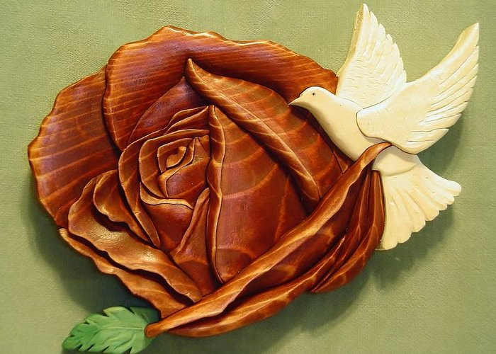 Intarsia Greeting Card featuring the sculpture Dove On A Rose by Russell Ellingsworth