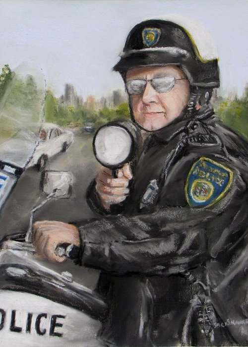Police Greeting Card featuring the painting Gotcha by Jack Skinner