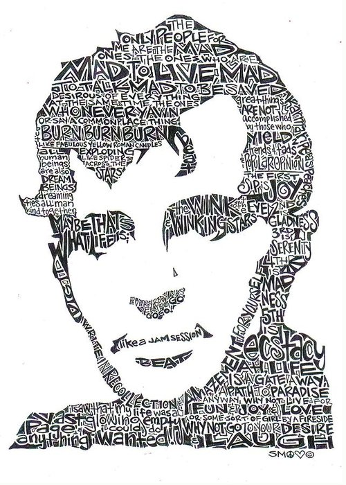 Kerouac Greeting Card featuring the drawing Jack Kerouac Black And White Word Portrait by Kato Smock