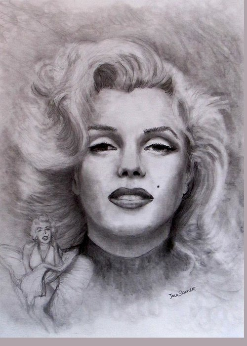 Marilyn Greeting Card featuring the drawing Marilyn by Jack Skinner