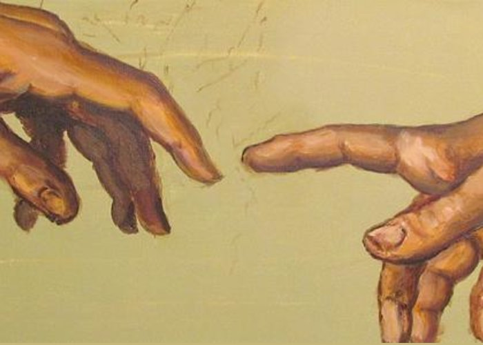 A Detail From Michelangelos Creation Of Adam Greeting Card featuring the painting Michelangelos Creation Of Adam 1510 by Eric Dee