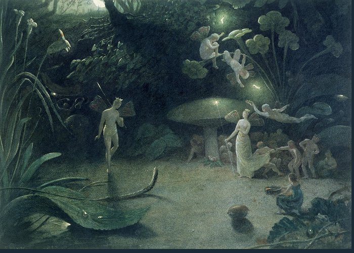 Fairy; Fairies; Nocturnal; Oberon; Titania; Quarrel; Child; Glow Worm; Taper; Lighting Greeting Card featuring the painting Scene From 'a Midsummer Night's Dream by Francis Danby