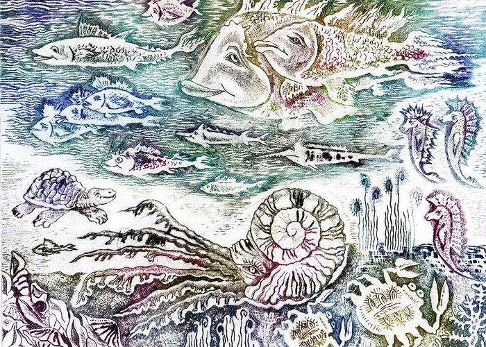 Drypoint Greeting Card featuring the drawing Sea World by Milen Litchkov