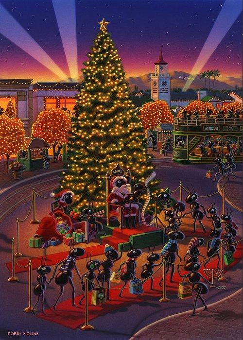Ants Greeting Card featuring the painting Visiting Santa Anta by Robin Moline