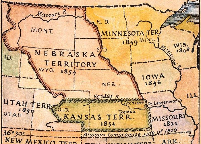 1854 Greeting Card featuring the painting Kansas-nebraska Map, 1854 by Granger
