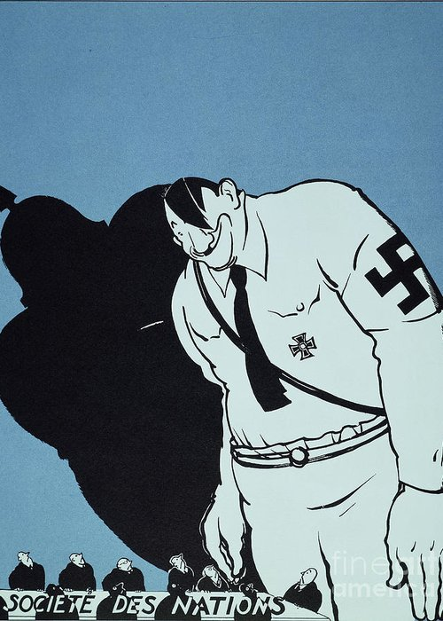 1935 Greeting Card featuring the painting Adolf Hitler Cartoon, 1935 by Granger