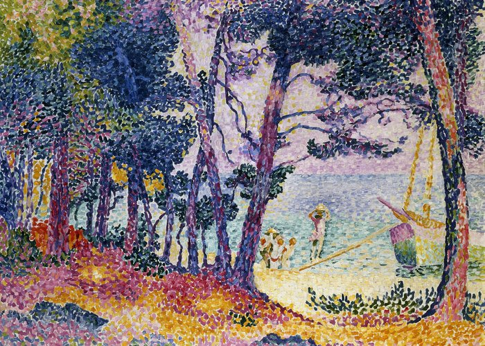 A Pine Grove Greeting Card featuring the painting A Pine Grove by Henri-Edmond Cross