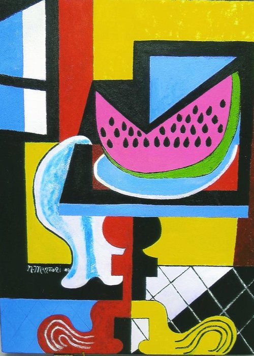 Abstract Greeting Card featuring the painting Abstract Watermelon by Nicholas Martori