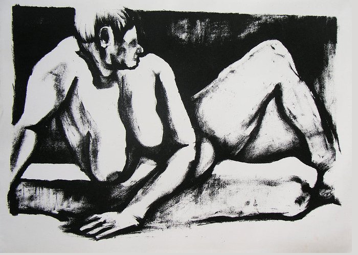 Nude Greeting Card featuring the drawing Air Conditioned Stomach by Brad Wilson
