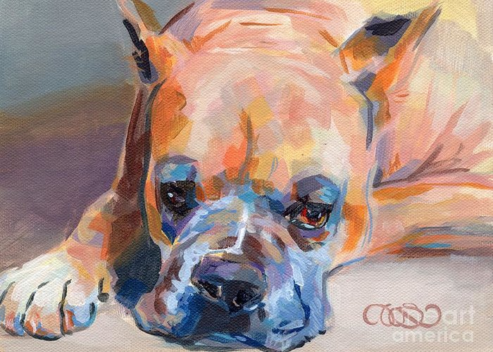 Boxer Greeting Card featuring the painting Andre by Kimberly Santini