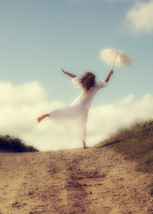 Girl Greeting Card featuring the photograph Angel With Parasol by Joana Kruse