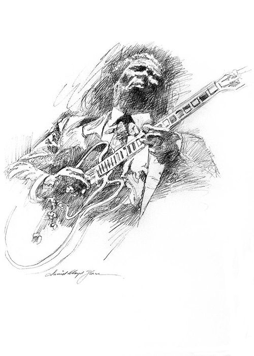 B B King Greeting Card featuring the drawing B B King And Lucille by David Lloyd Glover
