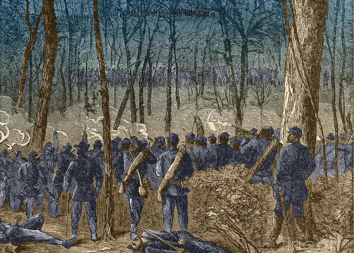 America Greeting Card featuring the photograph Battle Of The Wilderness, 1864 by Photo Researchers