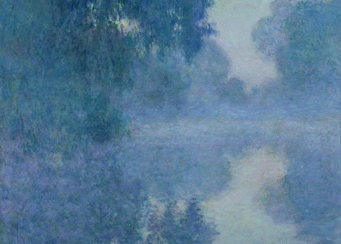 Impressionist; River; Reflection; Fog; Foggy; Misty; Mist; Branch; Seine; Giverny; Claude Monet; Monet; Tree; Trees Greeting Card featuring the painting Branch Of The Seine Near Giverny by Claude Monet