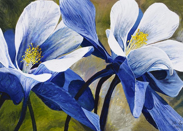 Flower Greeting Card featuring the painting Colorado Columbines by Aaron Spong