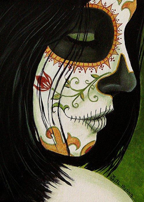 Dia De Los Muertos Greeting Card featuring the painting De Un Dia Para Otro by Al Molina