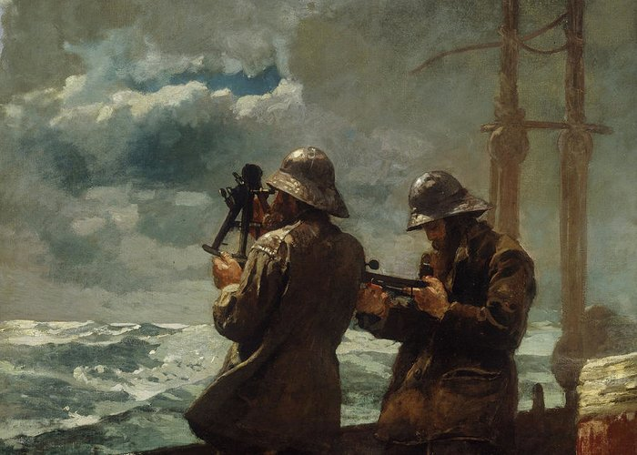 Eight Bells By Winslow Homer (oil On Canvas) Sea Greeting Card featuring the painting Eight Bells by Winslow Homer
