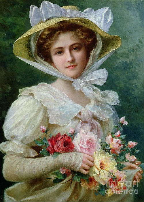Elegant Lady With A Bouquet Of Roses Greeting Card featuring the painting Elegant Lady With A Bouquet Of Roses by Emile Vernon