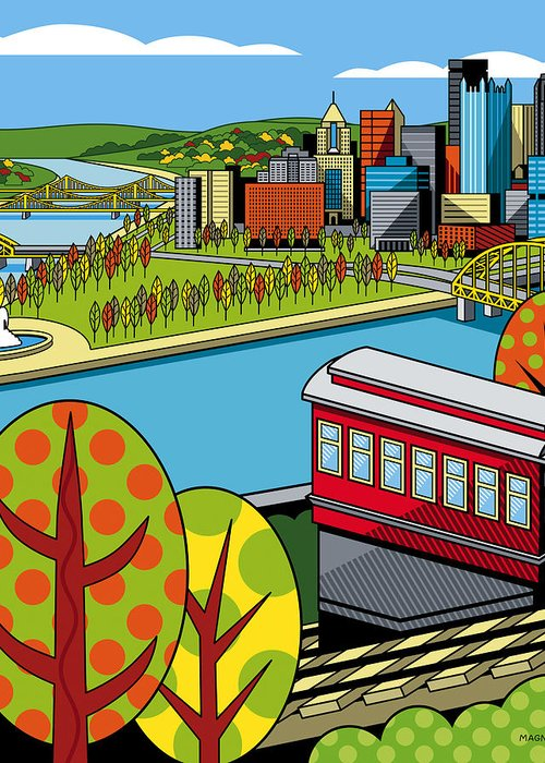 Pittsburgh Greeting Card featuring the digital art Fall From Above II by Ron Magnes