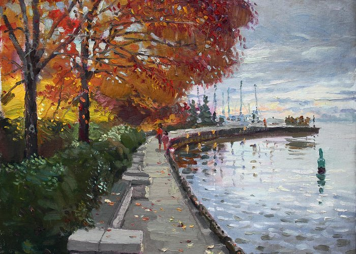 Port Credit Greeting Card featuring the painting Fall In Port Credit On by Ylli Haruni