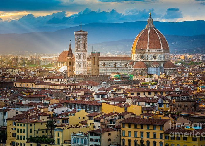 Arno Greeting Card featuring the photograph Firenze Duomo by Inge Johnsson