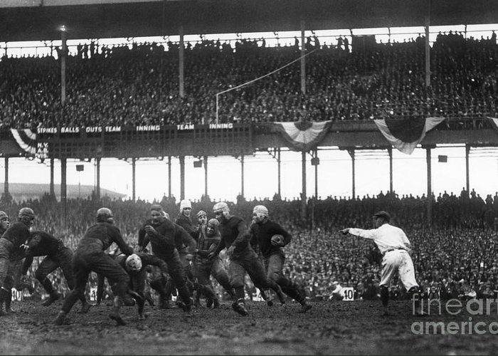 1925 Greeting Card featuring the photograph Football Game, 1925 by Granger