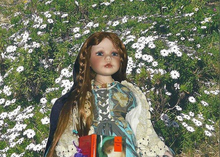 Pre Raphaelites Gabriella Elizabeth Rossetti Pre Raphaelite Doll Daisies Patonga Greeting Card featuring the photograph Gabriella Elizabeth Rossetti by Adrianne Wood