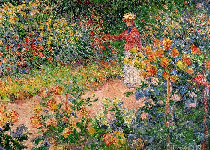 Garden Greeting Card featuring the painting Garden At Giverny by Claude Monet
