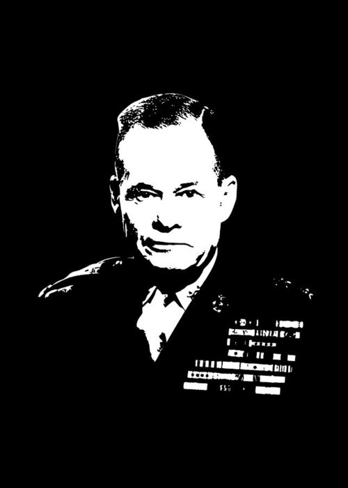 Chesty Puller Greeting Card featuring the digital art General Lewis Chesty Puller by War Is Hell Store