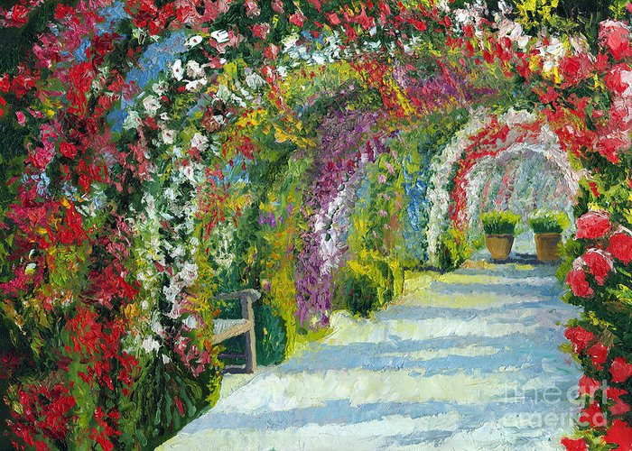 Oil Greeting Card featuring the painting Germany Baden-baden Rosengarten by Yuriy Shevchuk