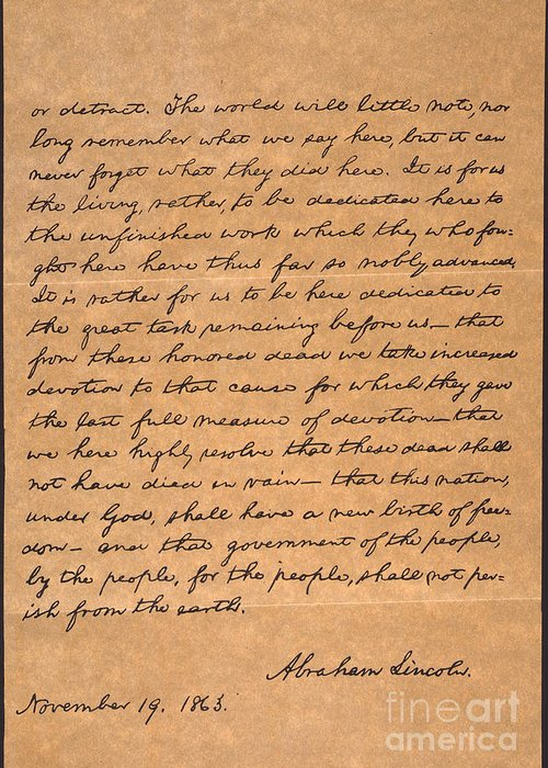 1863 Greeting Card featuring the photograph Gettysburg Address by Granger