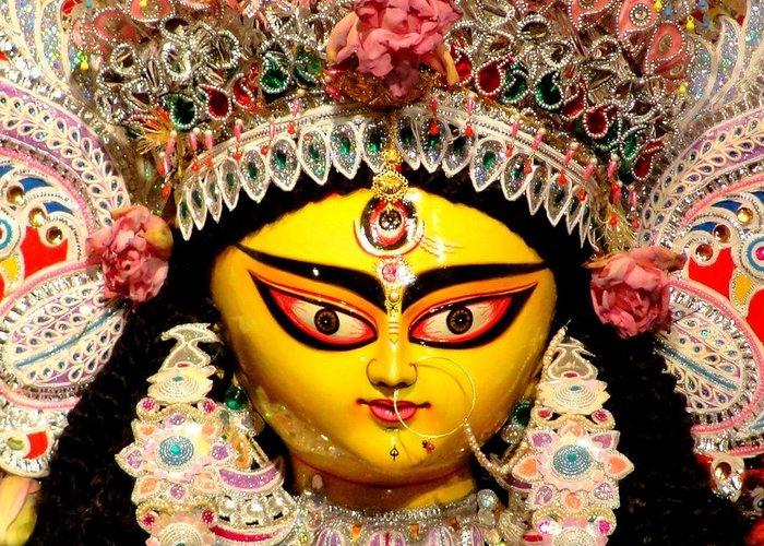 Durga Greeting Card featuring the photograph Goddess Durga by Chandrima Dhar