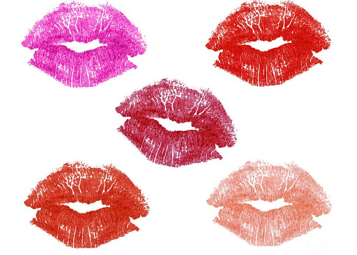 Lips Greeting Card featuring the photograph Graphic Lipstick Kisses by Blink Images