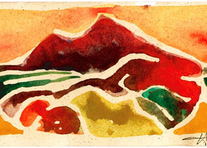 Red Greeting Card featuring the painting High Mountain Meadows by Annie Alexander