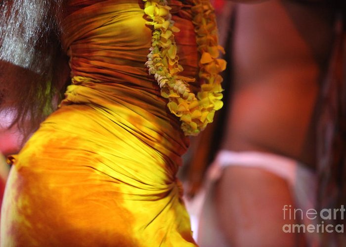 Dance Greeting Card featuring the photograph Hula Dancers by Nadine Rippelmeyer
