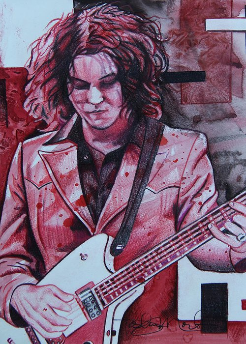 Jack White Greeting Card featuring the drawing Jack White by Joshua Morton