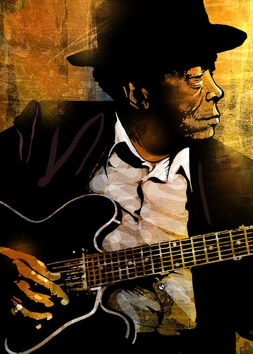 Blues Greeting Card featuring the painting John Lee Hooker by Paul Sachtleben
