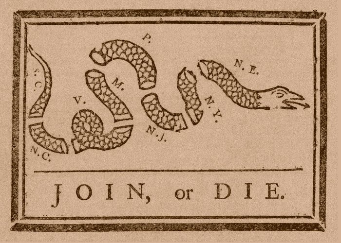 Join Or Die Greeting Card featuring the drawing Join Or Die by War Is Hell Store