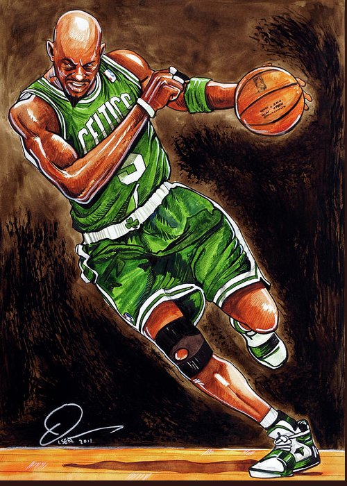 Kevin Garnett Greeting Card featuring the painting Kevin Garnett by Dave Olsen
