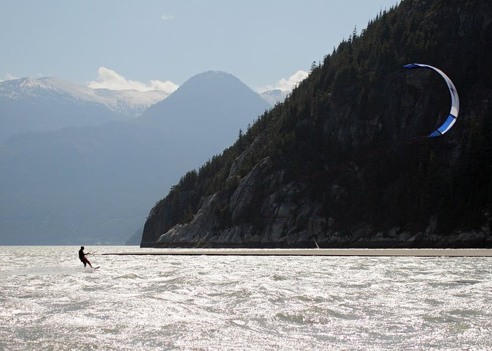 Kite Greeting Card featuring the photograph Kite Surfing The Spit In Squamish B.c Canada by Pierre Leclerc Photography