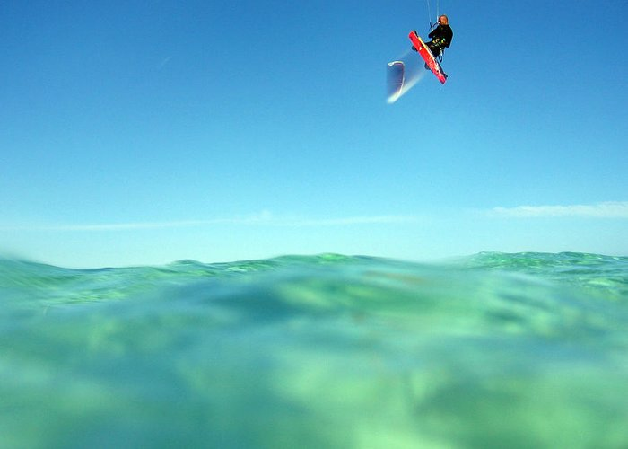 Adventure Greeting Card featuring the photograph Kitesurfing by Stelios Kleanthous
