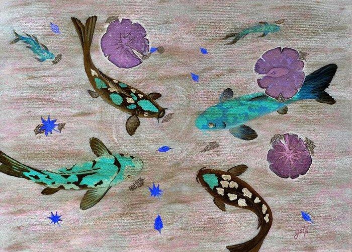 Koi Fish Greeting Card featuring the painting Koi Fish Feng Shui by Georgeta Blanaru
