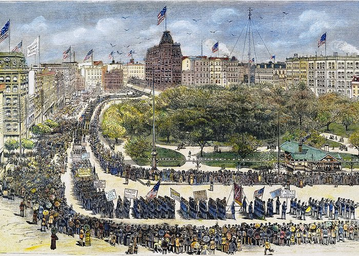 1882 Greeting Card featuring the photograph Labor Day Parade, 1882 by Granger