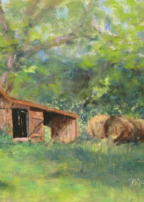 Barn Greeting Card featuring the pastel Leftover Hay by Lorraine McFarland