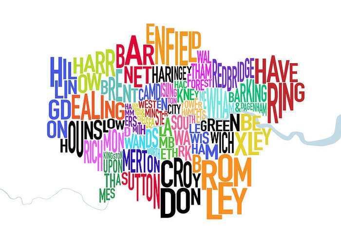 London Greeting Card featuring the digital art London Uk Text Map by Michael Tompsett